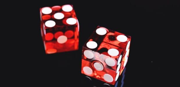 closeup photo of two red dices showing 4 and 5 965875